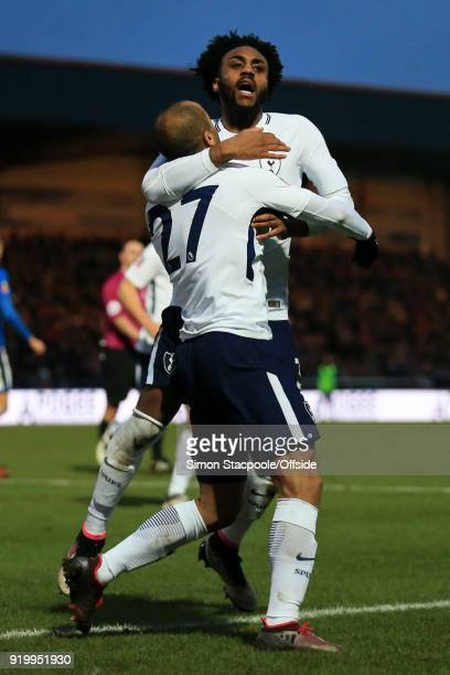 Lucas Moura of Spurs celebrates with teammate Danny Rose of Spurs after scoring their 1st goal during The Emirates FA Cup Fifth Round match between...