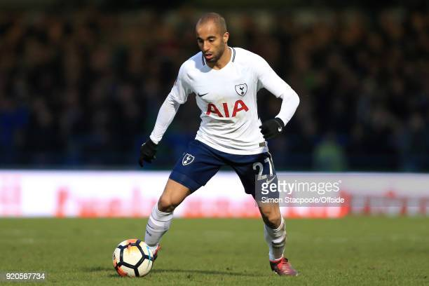 Lucas Moura of Spurs in action during The Emirates FA Cup Fifth Round match between Rochdale AFC and Tottenham Hotspur at Spotland Stadium on...