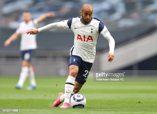 Lucas Moura of Spurs in action during the Premier League match between Tottenham Hotspur and Southampton at Tottenham Hotspur Stadium on April 21,...