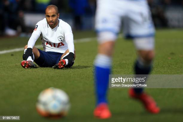 Lucas Moura of Spurs looks dejected during The Emirates FA Cup Fifth Round match between Rochdale AFC and Tottenham Hotspur at Spotland Stadium on...
