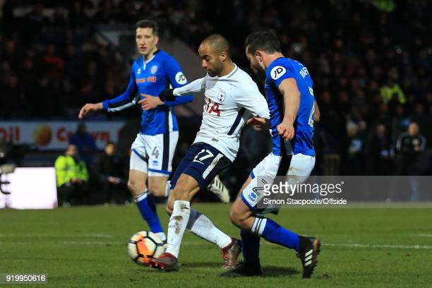 Lucas Moura of Spurs scores their 1st goal during The Emirates FA Cup Fifth Round match between Rochdale AFC and Tottenham Hotspur at Spotland...