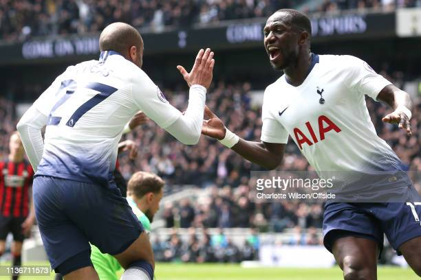 Lucas Moura of Tottenham celebrates scoring their 2nd goal with Moussa Sissoko during the Premier League match between Tottenham Hotspur and...