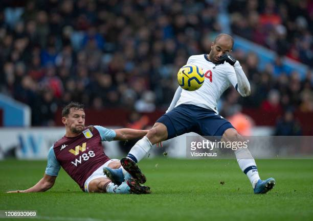 Lucas Moura of Tottenham Hotspur and Daniel Drinkwater of Aston Villa in action during the Premier League match between Aston Villa and Tottenham...