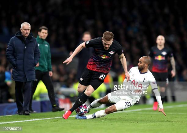 Lucas Moura of Tottenham Hotspur and Marcel Halstenberg of RB Leipzig during the UEFA Champions League round of 16 first leg match between Tottenham...