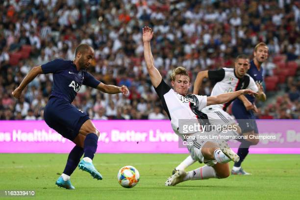 Lucas Moura of Tottenham Hotspur and Matthijs de Ligt of Juventus compete for the ball during the International Champions Cup match between Juventus...