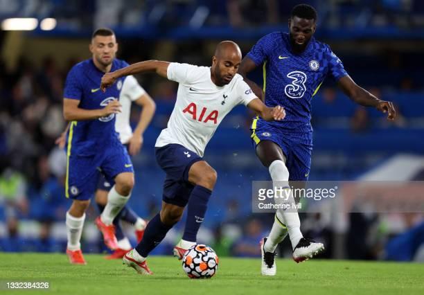 Lucas Moura of Tottenham Hotspur and Tiemoue Bakayoko of Chelsea during the Pre Season Friendly match between Chelsea and Tottenham Hotspur at...