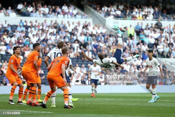 Lucas Moura of Tottenham Hotspur attempts a overhead kick during the Premier League match between Tottenham Hotspur and Newcastle United at Tottenham...
