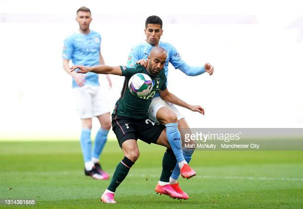 Lucas Moura of Tottenham Hotspur battles for possession with Joao Cancelo of Manchester City during the Carabao Cup Final between Manchester City and...