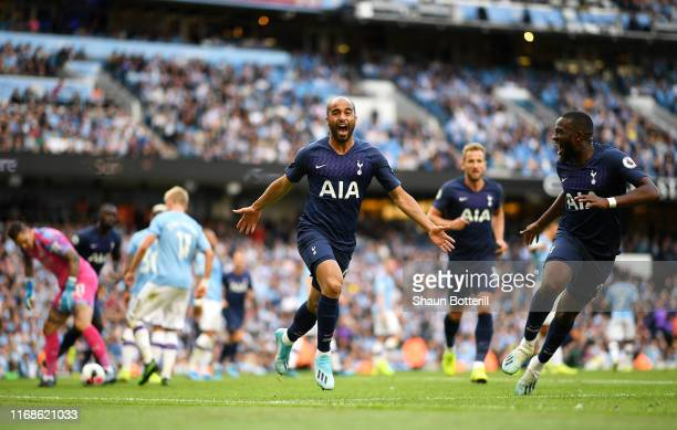 Lucas Moura of Tottenham Hotspur celebrates after he scores his sides second goal during the Premier League match between Manchester City and...