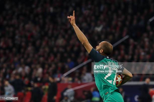 Lucas Moura of Tottenham Hotspur celebrates after scoring a goal to make it 21 during the UEFA Champions League Semi Final second leg match between...