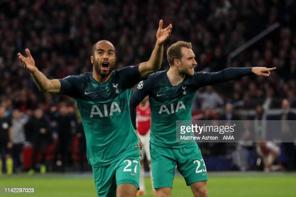 Lucas Moura of Tottenham Hotspur celebrates after scoring a goal to make it 22 during the UEFA Champions League Semi Final second leg match between...