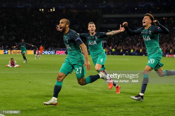 Lucas Moura of Tottenham Hotspur celebrates after scoring a goal to make it 23 during the UEFA Champions League Semi Final second leg match between...