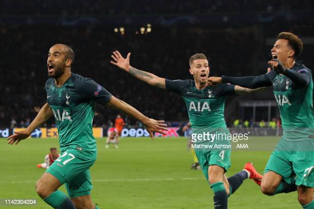 Lucas Moura of Tottenham Hotspur celebrates after scoring a goal to make it 203 during the UEFA Champions League Semi Final second leg match between...