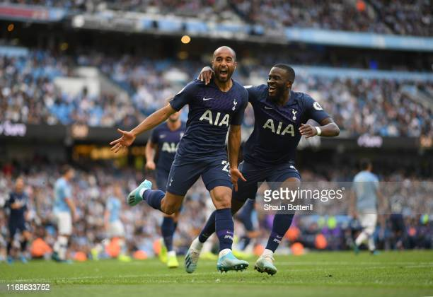 Lucas Moura of Tottenham Hotspur celebrates after scoring during the Premier League match between Manchester City and Tottenham Hotspur at Etihad...