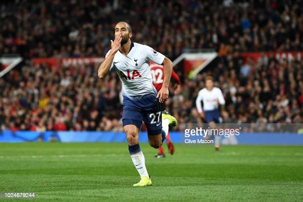 Lucas Moura of Tottenham Hotspur celebrates after scoring his second goal and his team's third goal during the Premier League match between...