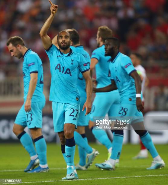 Lucas Moura of Tottenham Hotspur celebrates after scoring his sides third goal during the UEFA Champions League group B match between Olympiacos FC...
