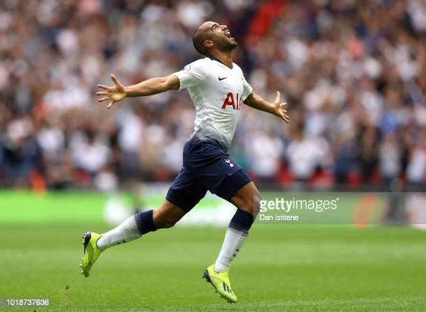 Lucas Moura of Tottenham Hotspur celebrates after scoring his team's first goal during the Premier League match between Tottenham Hotspur and Fulham...