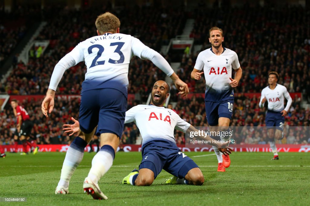 Lucas Moura of Tottenham Hotspur celebrates after scoring his team's second goal during the Premier League match between Manchester United and Tottenham Hotspur at Old Trafford on August 27, 2018 in Manchester, United Kingdom.