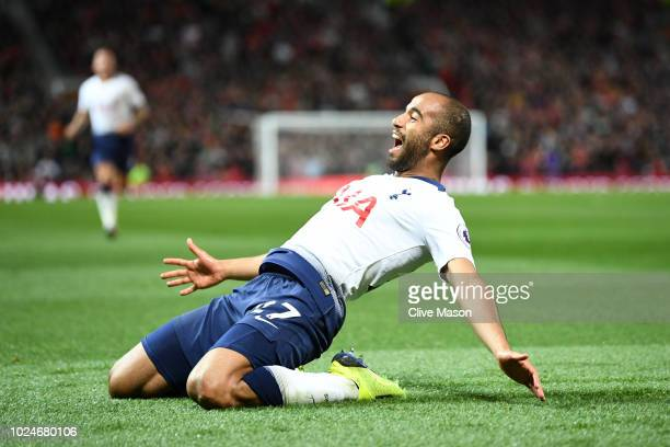 Lucas Moura of Tottenham Hotspur celebrates after scoring his team's second goal during the Premier League match between Manchester United and...