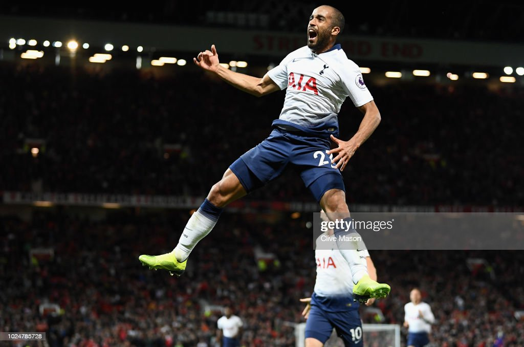 Lucas Moura of Tottenham Hotspur celebrates after scoring his team's third goal during the Premier League match between Manchester United and Tottenham Hotspur at Old Trafford on August 27, 2018 in Manchester, United Kingdom.