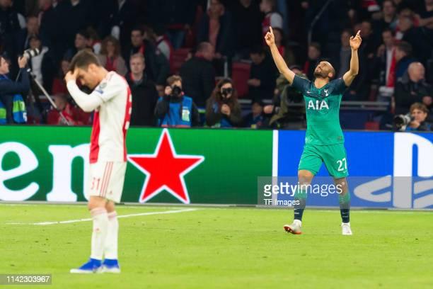 Lucas Moura of Tottenham Hotspur celebrates after scoring his team's third goal during the UEFA Champions League Semi Final second leg match between...