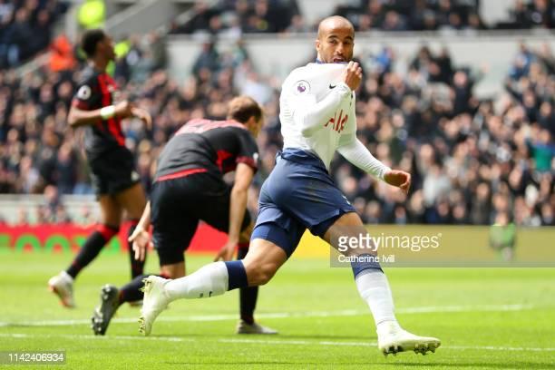 Lucas Moura of Tottenham Hotspur celebrates after scoring his team's second goal during the Premier League match between Tottenham Hotspur and...