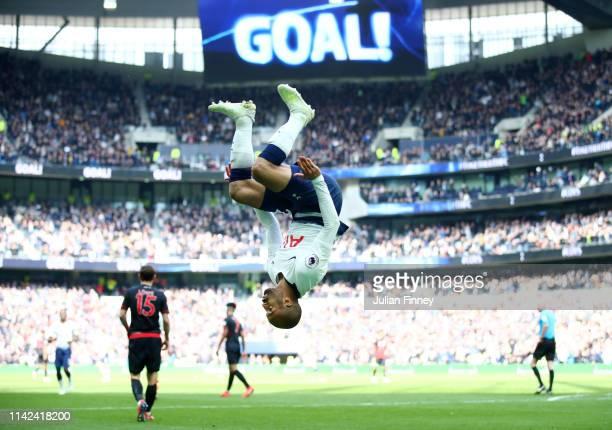Lucas Moura of Tottenham Hotspur celebrates after scoring his team's third goal during the Premier League match between Tottenham Hotspur and...
