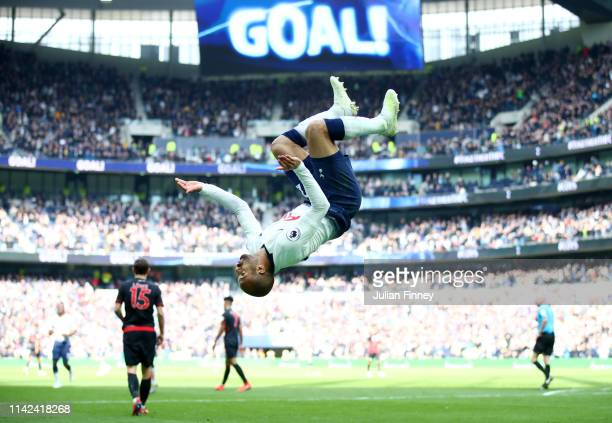 Lucas Moura of Tottenham Hotspur celebrates after scoring his team's third goal during the Premier League match between Tottenham Hotspur and...