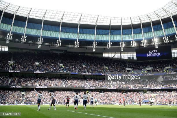 Lucas Moura of Tottenham Hotspur celebrates after scoring his team's fourth goal during the Premier League match between Tottenham Hotspur and...