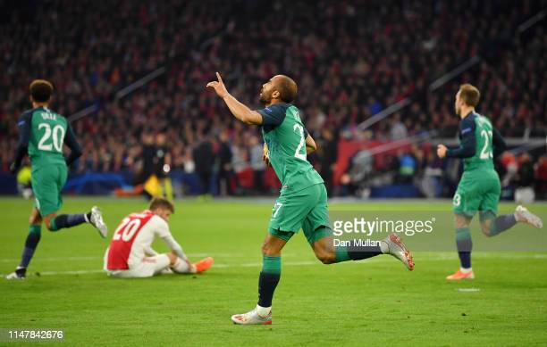 Lucas Moura of Tottenham Hotspur celebrates after scoring his team's first goal during the UEFA Champions League Semi Final second leg match between...