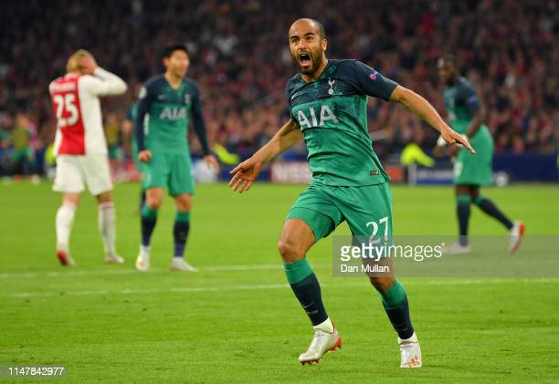 Lucas Moura of Tottenham Hotspur celebrates after scoring his team's second goal during the UEFA Champions League Semi Final second leg match between...