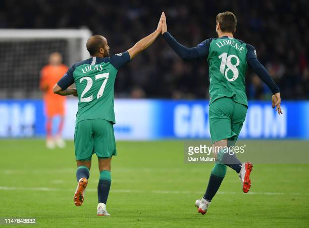 Lucas Moura of Tottenham Hotspur celebrates after scoring his team's second goal with Fernando Llorente of Tottenham Hotspur during the UEFA...