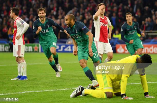 Lucas Moura of Tottenham Hotspur celebrates after scoring his team's third goal as Andre Onana of Ajax reacts during the UEFA Champions League Semi...