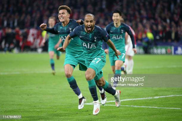 Lucas Moura of Tottenham Hotspur celebrates after scoring his team's third goal with Dele Alli of Tottenham Hotspur during the UEFA Champions League...