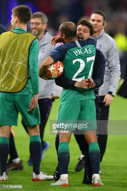 Lucas Moura of Tottenham Hotspur celebrates after scoring his team's third goal with Dele Alli of Tottenham Hotspur during the UEFA Champions League...