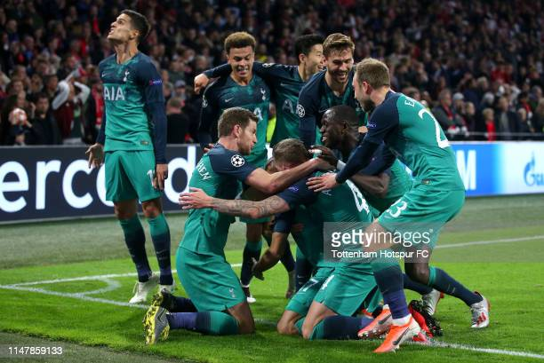 Lucas Moura of Tottenham Hotspur celebrates after scoring his team's third goal with his team mates during the UEFA Champions League Semi Final...