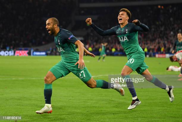 Lucas Moura of Tottenham Hotspur celebrates after scoring his team's third goal during the UEFA Champions League Semi Final second leg match between...