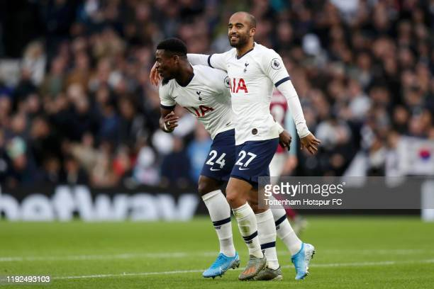 Lucas Moura of Tottenham Hotspur celebrates after scoring his team's second goal with Serge Aurier of Tottenham Hotspur during the Premier League...