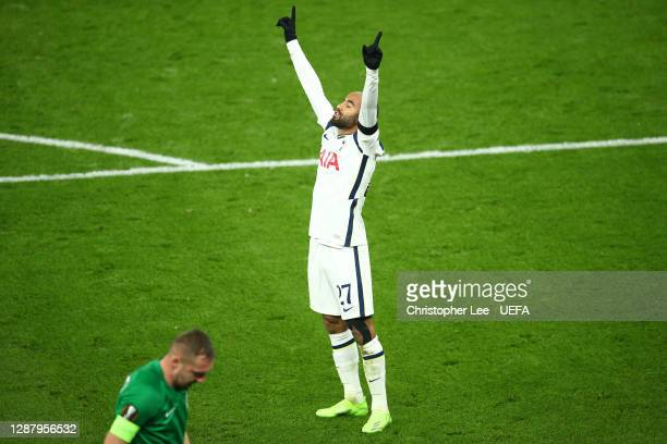 Lucas Moura of Tottenham Hotspur celebrates after scoring their team's fourth goal during the UEFA Europa League Group J stage match between...