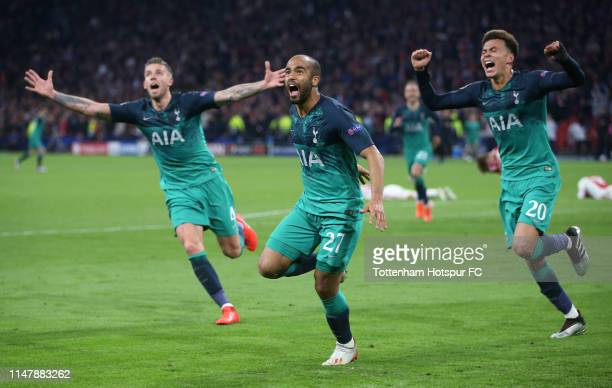 Lucas Moura of Tottenham Hotspur celebrates after scoring their third goal to complete his hat trick during the UEFA Champions League Semi Final...