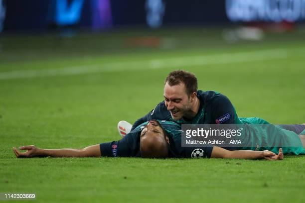Lucas Moura of Tottenham Hotspur celebrates at full time with Christian Eriksen of Tottenham Hotspur during the UEFA Champions League Semi Final...