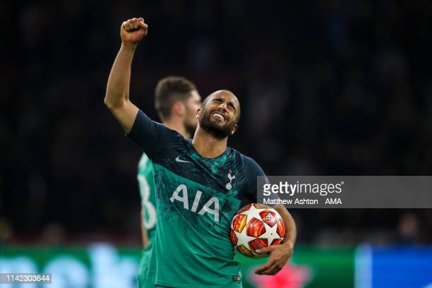 Lucas Moura of Tottenham Hotspur celebrates at full time with the match ball after his game winning hat tick during the UEFA Champions League Semi...