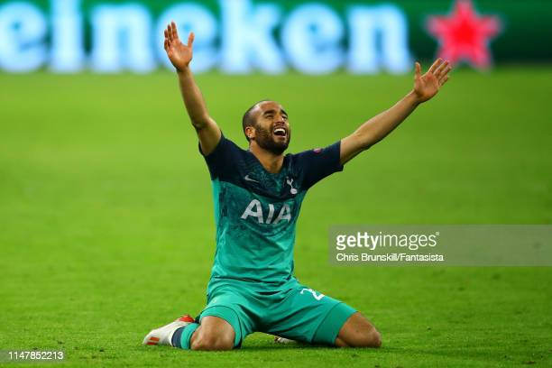 Lucas Moura of Tottenham Hotspur celebrates at fulltime following the UEFA Champions League Semi Final second leg match between Ajax and Tottenham...
