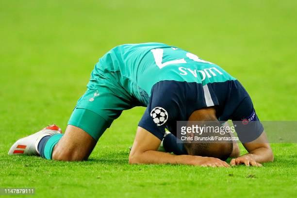 Lucas Moura of Tottenham Hotspur celebrates at fulltime following the UEFA Champions League Semi Final second leg match between Ajax and Tottenham...