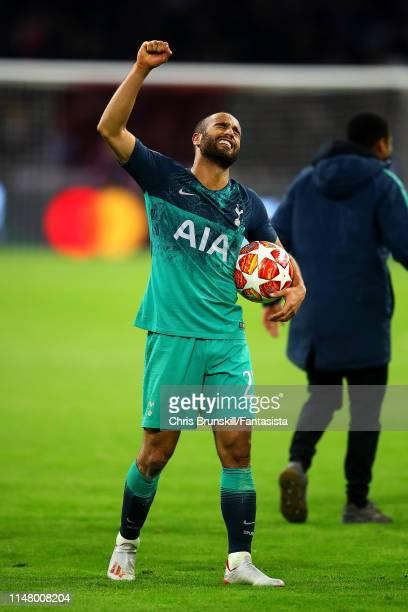 Lucas Moura of Tottenham Hotspur celebrates at full-time following the UEFA Champions League Semi Final second leg match between Ajax and Tottenham...