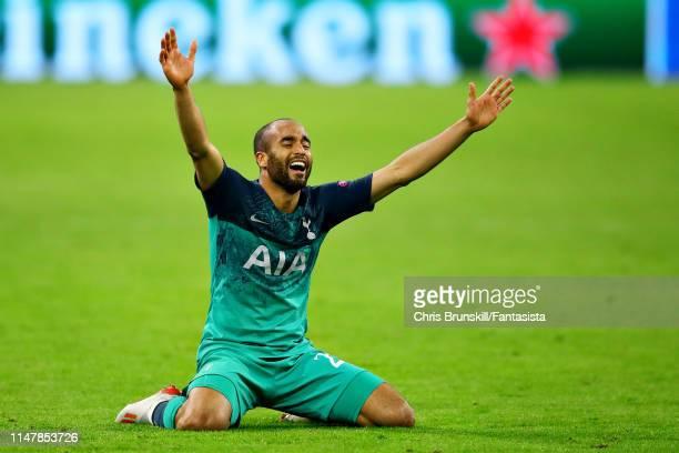Lucas Moura of Tottenham Hotspur celebrates his sides win after the UEFA Champions League Semi Final second leg match between Ajax and Tottenham...