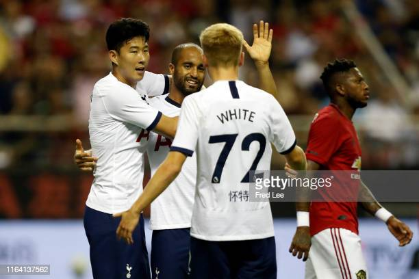 Lucas Moura of Tottenham Hotspur celebrates scoring his side's first goal with his team mates during the International Champions Cup match between...