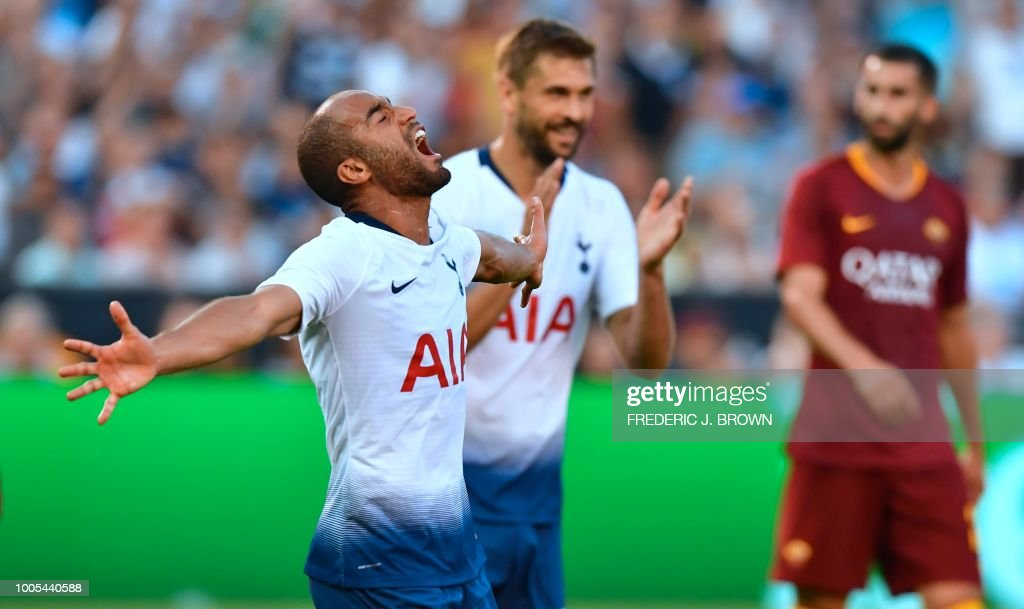Lucas Moura (L) of Tottenham Hotspur celebrates scoring the equalizer agaist AS Roma during their International Champions Cup match in San Diego, California on July 25, 2018, where Tottenham defeated Roma 4-1.