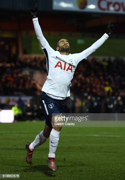 Lucas Moura of Tottenham Hotspur celebrates scoring the first Tottenham Hotspur goal during The Emirates FA Cup Fifth Round match between Rochdale...