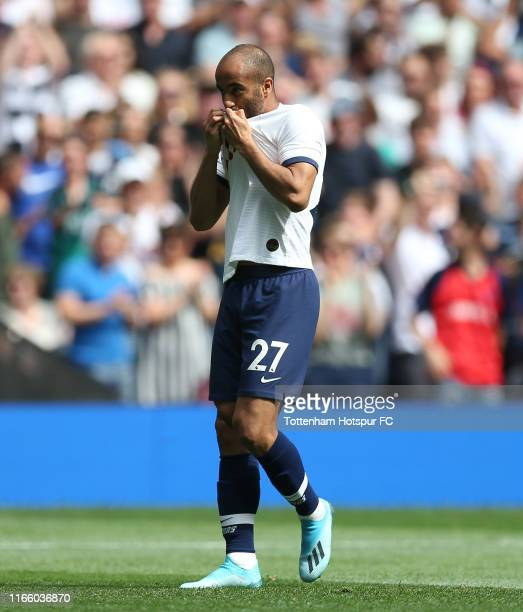 Lucas Moura of Tottenham Hotspur celebrates scoring their first goal during the 2019 International Champions Cup match between Tottenham Hotspur and...